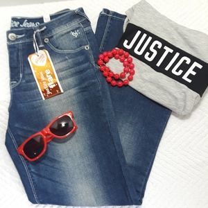 NWT Justice Jeans Mid Rise Flair 12 1/2